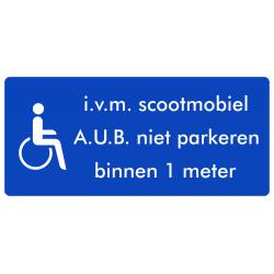 Rolstoel stickers (i.v.m scootmobiel, niet parkeren binnen 1 meter)(ronde uitvoering)