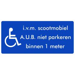 Rolstoel stickers (i.v.m scootmobiel, niet parkeren binnen 1 meter)