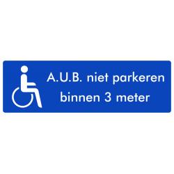 Rolstoel stickers (niet parkeren binnen 3 meter)(ronde uitvoering)