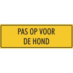 Pas op voor de hond stickers (geel)