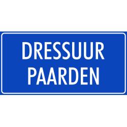'Dressuur paarden' bordjes (blauw)