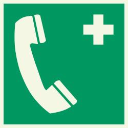 Telefoon voor noodgevallen luminescerende bordjes