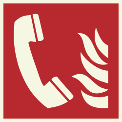 Telefoon voor brandalarm luminescerende bordjes