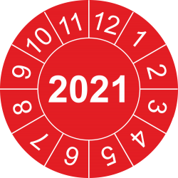Keuringsstickers met jaartal (rood)