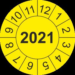 Keuringsstickers met jaartal (geel)