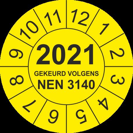 Keuringsstickers met NEN 3140 en jaartal (geel)