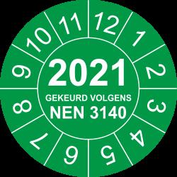 Keuringsstickers met NEN 3140 en jaartal (groen)