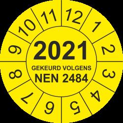 Keuringsstickers met NEN 2484 en jaartal (geel)