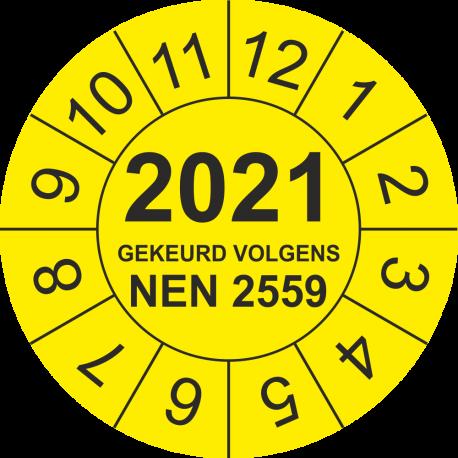 Keuringsstickers met NEN 2559 en jaartal (geel)