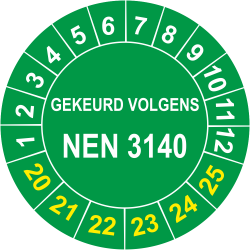 Keuringsstickers met NEN 3140 opdruk (groen)