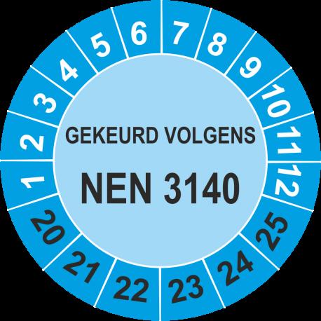 Keuringsstickers met NEN 3140 opdruk (blauw)
