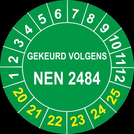 Keuringsstickers met NEN 2484 opdruk (groen)