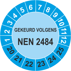 Keuringsstickers met NEN 2484 opdruk (blauw)