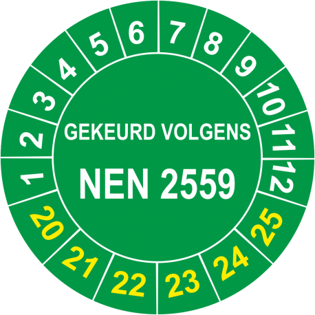 Keuringsstickers met NEN 2559 opdruk (groen)