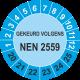 Keuringsstickers met NEN 2559 opdruk (blauw)
