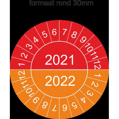 Keuringsstickers met dubbel jaartal (rood-oranje)