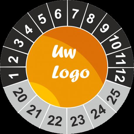 Keuringsstickers met eigen logo (antraciet)