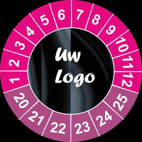 Keuringsstickers met eigen logo (aubergine)