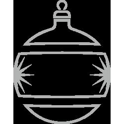 Kerstbal decoratiesticker raam (Zilverkleurig)