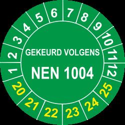 Keuringsstickers met NEN 1004 opdruk (groen)