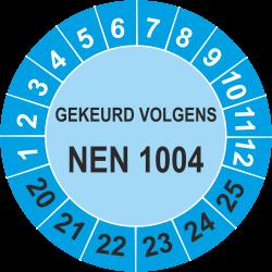 Keuringsstickers met NEN 1004 opdruk (blauw)