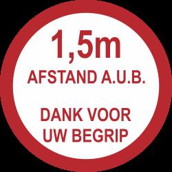 1,5 meter afstand houden (rond) sticker
