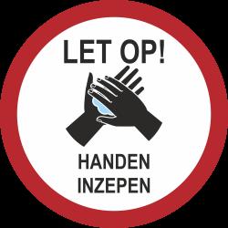 Handen inzepen (rond) sticker