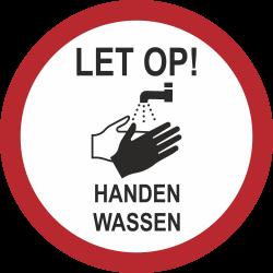 Handen wassen (rond) sticker