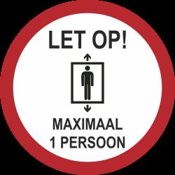 Maximaal 1 persoon in de lift (rond) sticker