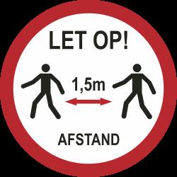 1,5 meter afstand houden bij lopen (rond) sticker