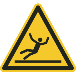 Een gele gevarendriehoek ISO 7010 sticker met een persoon die uitglijdt op een glad oppervlak