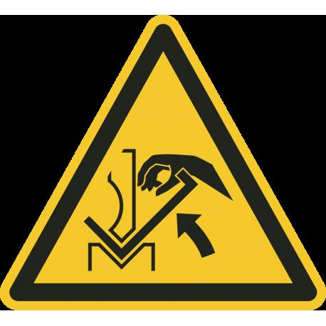 Handverbrijzeling tussen buigbank en materiaal stickers