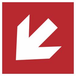 Richtingaanwijzing links omlaag stickers (rood)