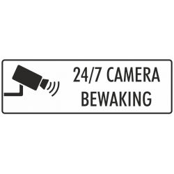 Camera bewaking 24/7 stickers (wit)